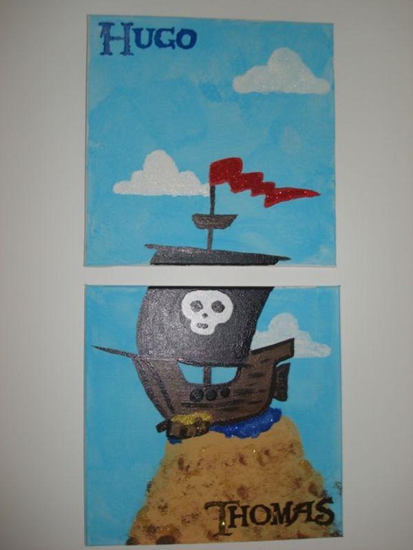 Tableau à 6 mains pour la chambre des Pirates