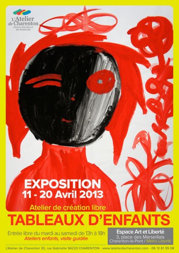 Tableaux d'enfants - La 1ère expo de L'Atelier de Charenton du 11 au 20 avril...