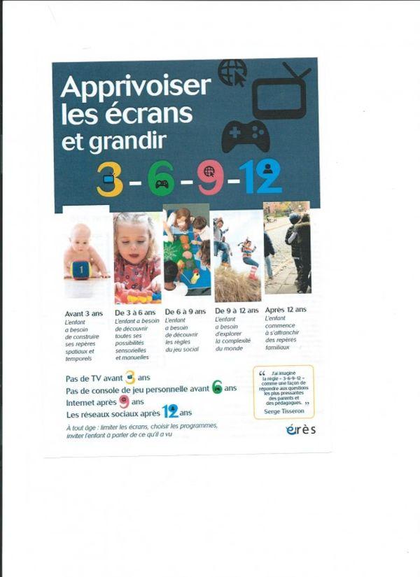 Campagne:  Apprivoiser les écrans la régle des 3-6-9-12