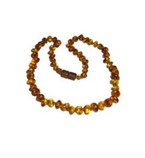 Collier d'ambre bébé perles lisses