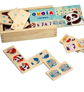 Boîte de 28 dominos en bois