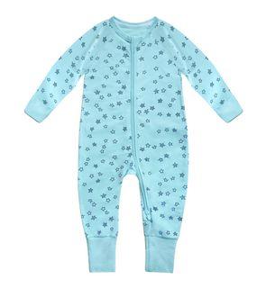 Pyjama Zippy en coton stretch bleu clair imprimé pluie d'étoile
