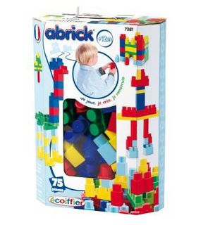 Ecoiffier Briques de construction Abrick : Baril maxi 75 pièces bleues