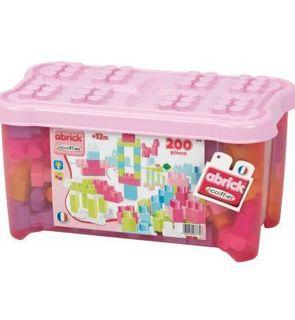 Ecoiffier Briques de construction Abrick : Baril de 200 pièces roses