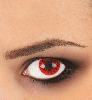 Lentilles de contact toile d'araignée noire et rouge adulte Halloween