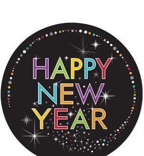 8 Assiettes en carton Happy New Year 23cm