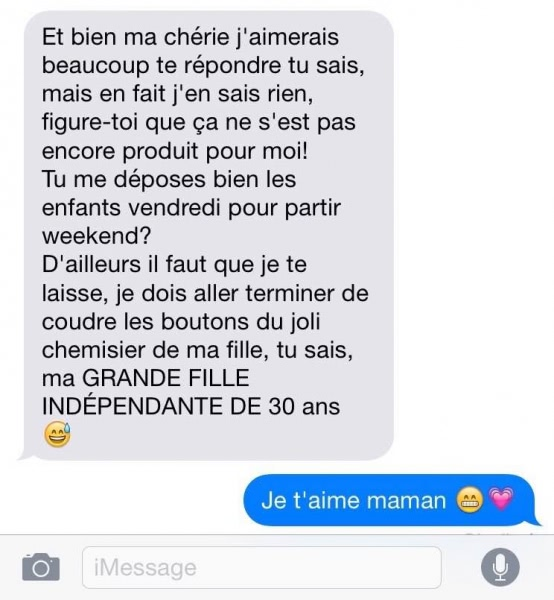 SMS mere fille