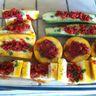 Courgettes à la provencale et compotée de poivron rouge