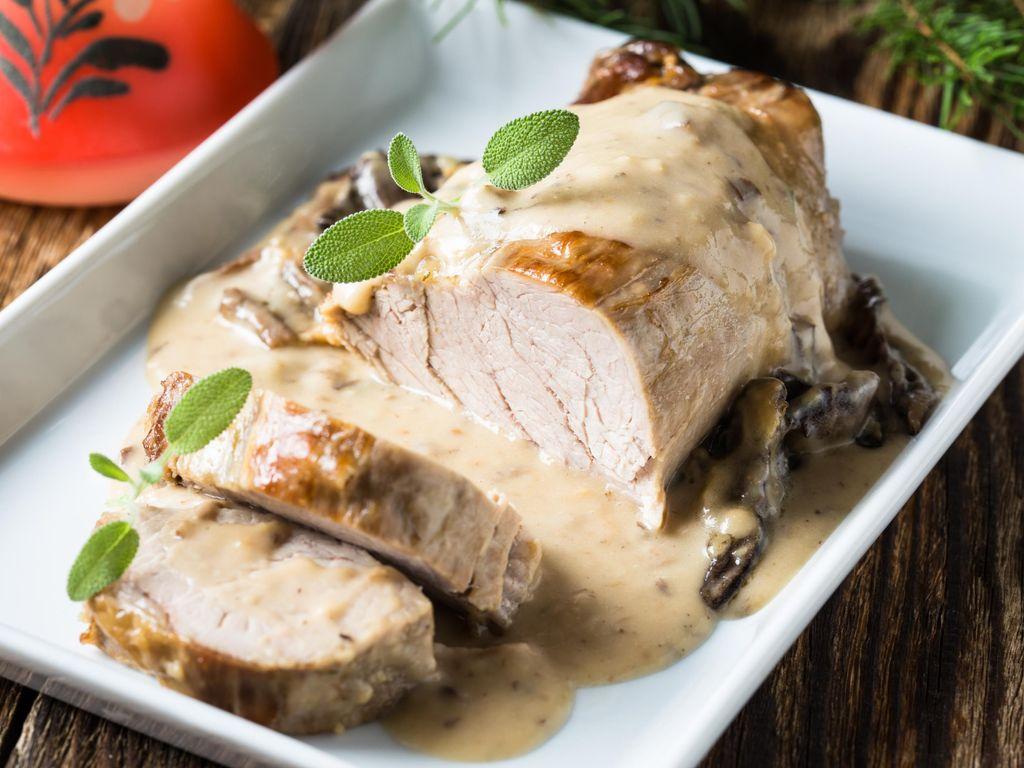 Rôti de veau en cocotte aux champignons : Recette de Rôti de veau en cocotte aux champignons ...