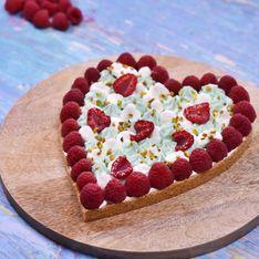 Tarte d'amour vanille, framboises et pistaches