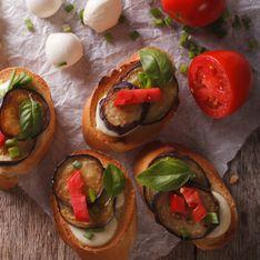 Tartines d'aubergines, tomates et mozzarella