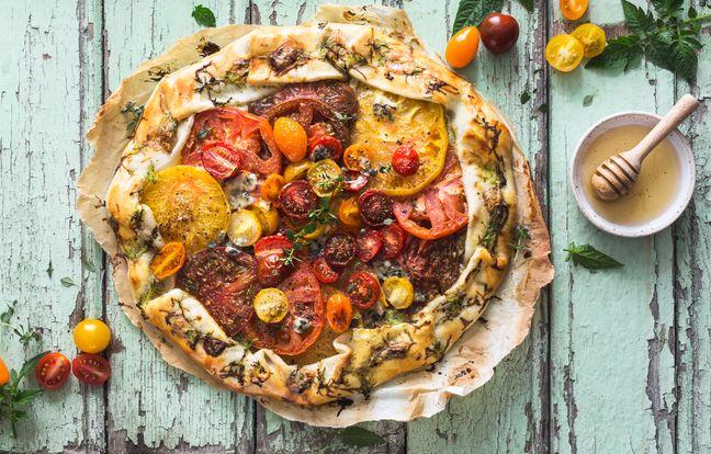Tarte aux tomates anciennes et roquefort