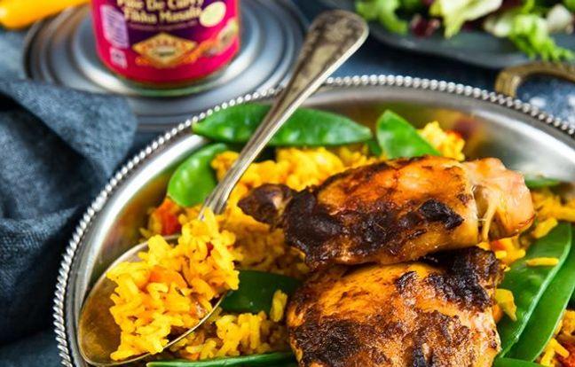 Cuisses de poulet tikka masala et leur riz au curry