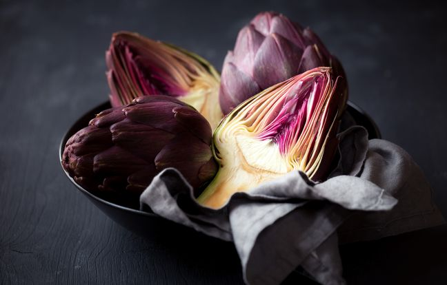 Artichauts violets cuits en vinaigrette