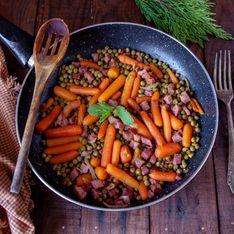 Petits pois carottes braisés aux lardons