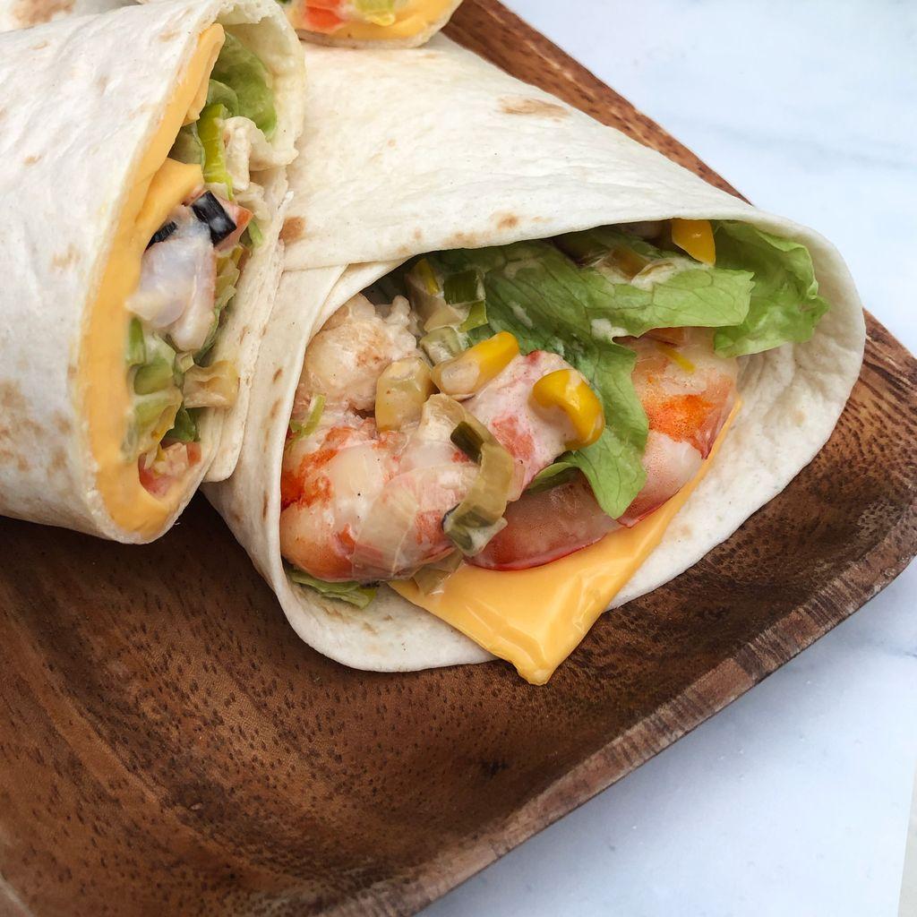 Wrap légumes croquants et crevettes