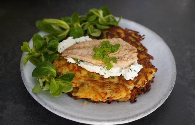 Filets de maquereaux sur Röstis de pomme de terre et fromage frais aux herbes avec Hervé Cuisine