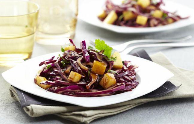 Recette Salade de chou rouge aux pommes