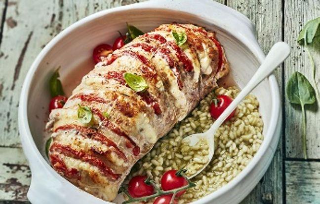 Orloff de veau, tomate, mozzarella et risotto d'oseille
