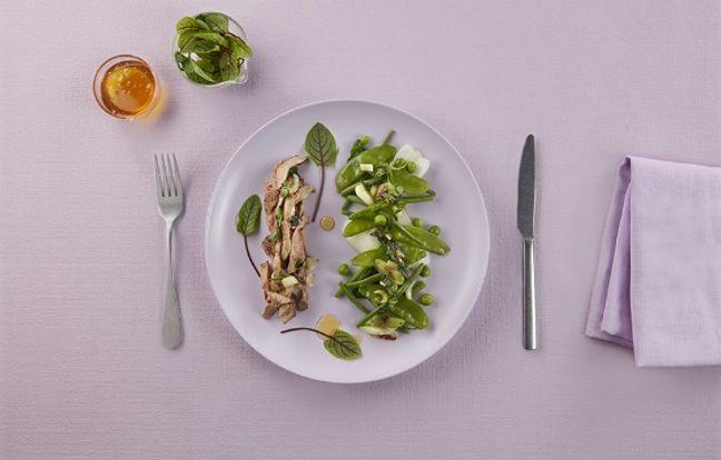 Salade d'effiloché de veau et légumes verts à la thaïe