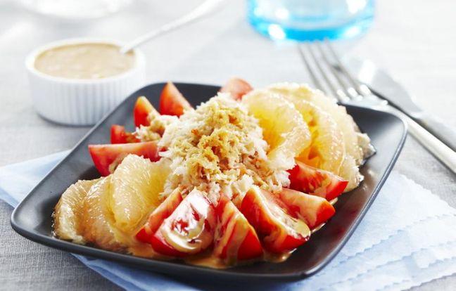 Salade de crabe pamplemousse et tomate
