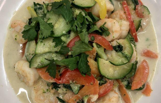 Curry vert aux queues de crevettes de Mathieu Marti