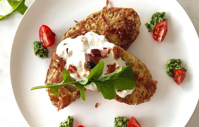 Pain perdu à la tapenade de Truffe & Chips de jambon de Parme par Leslie en Cuisine