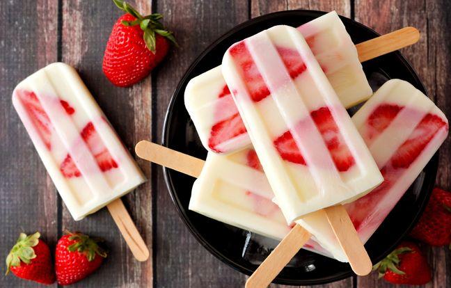 Esquimaux au yaourt, vanille et fraises fraîches