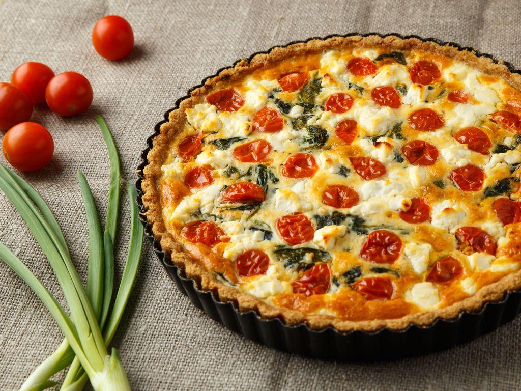 Tarte épinard, mozzarella, tomate & chèvre