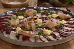 Carpaccio de betterave et chou-rave par Laurent Mariotte