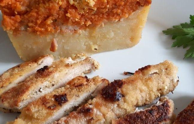 Duo de purée aux lardons et parmesan et son escalope de dinde panée