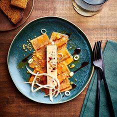 Foie gras sur carpaccio de papaye