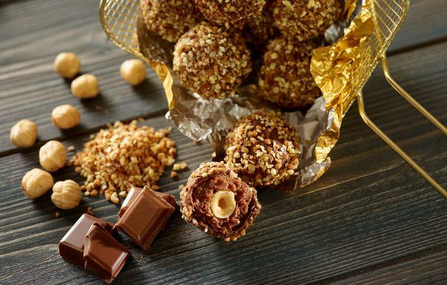 Rochers chocolat praliné coque au chocolat lait