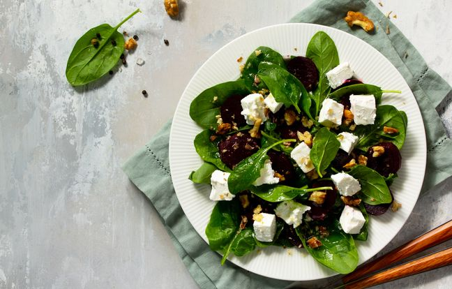 Salade d'épinard, betterave et feta