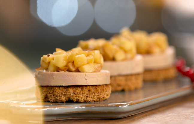 Mini tatin de foie gras pour Noël