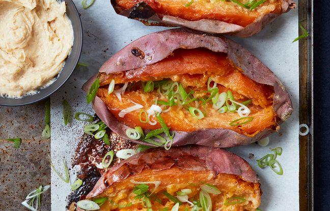 Patate douce en robe des champs, beurre de miso