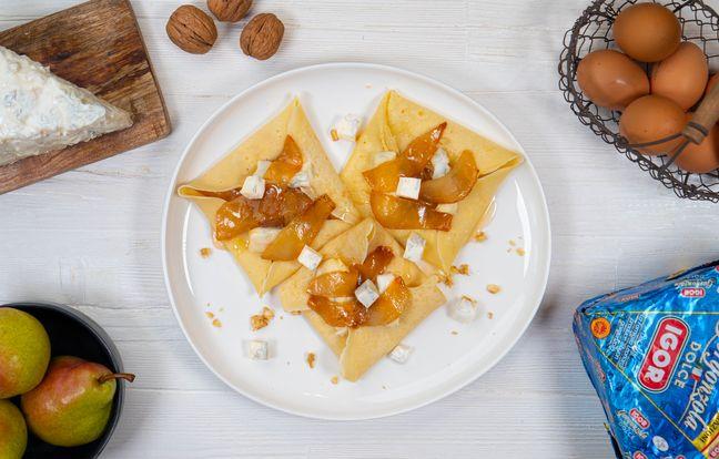 Crêpes aux poires, Gorgonzola doux et miel