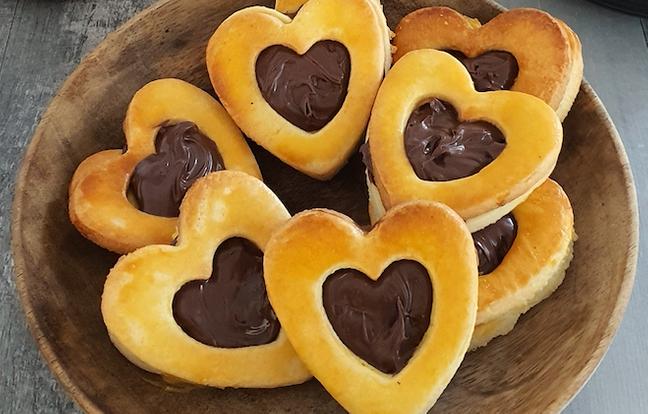 Sablés cœurs à la pâte à tartiner
