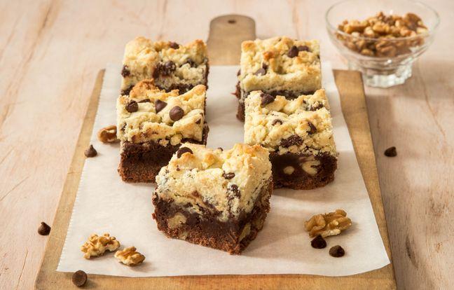 Brookies au chocolat, pépites et noix