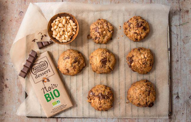 Cookies chocolat noir bio et cacahuètes