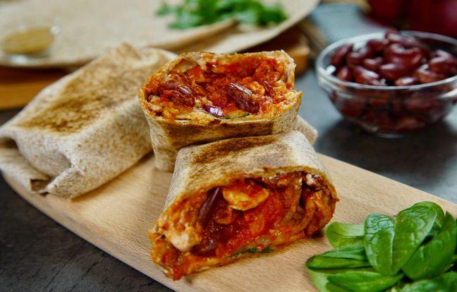 Burrito aux haricots rouges et au poulet