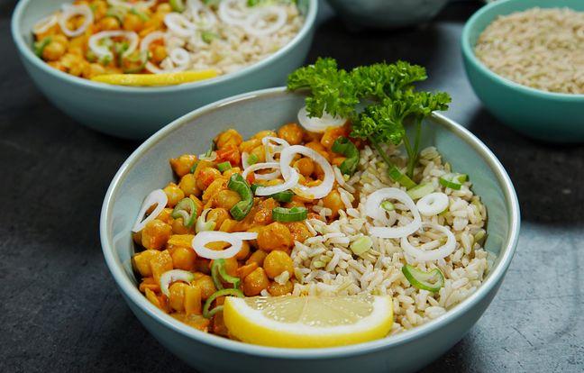 Curry de pois chiches et riz complet