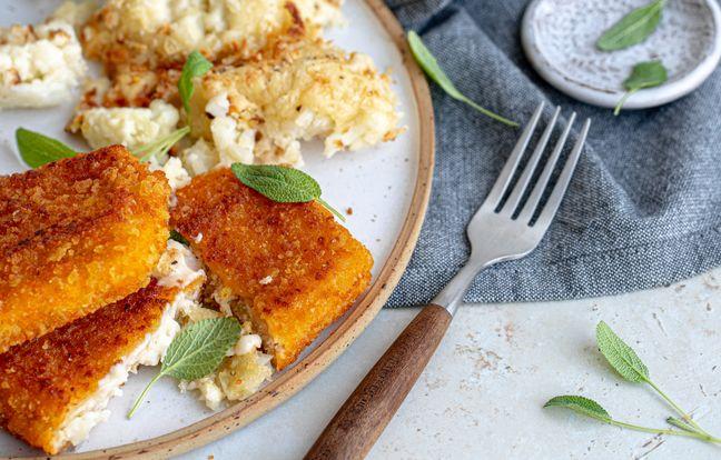 Pavé au fromage et chou-fleur gratiné