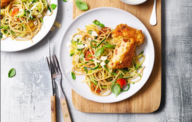 Spaghetti de courgettes et carré gourmand