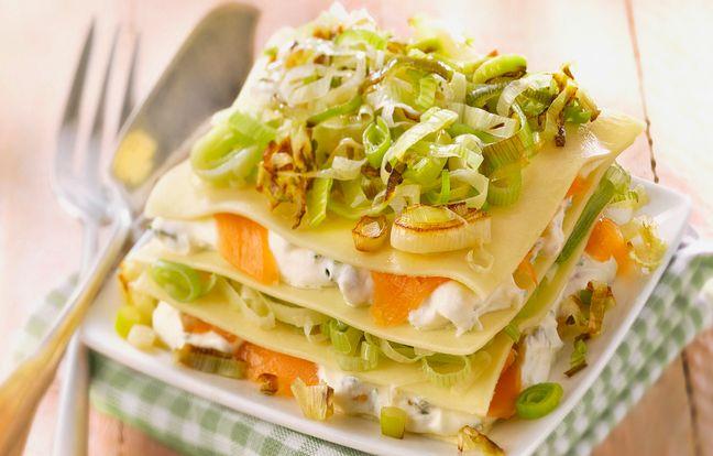 Lasagnes de poireaux et saumon fumé et fromage frais