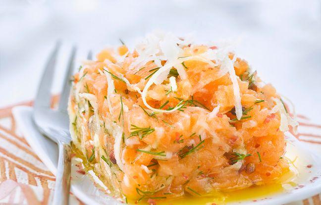 Tartare de saumon et fenouil et aneth