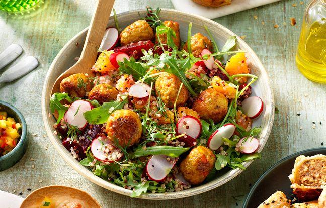 Salade de quinoa aux boulettes