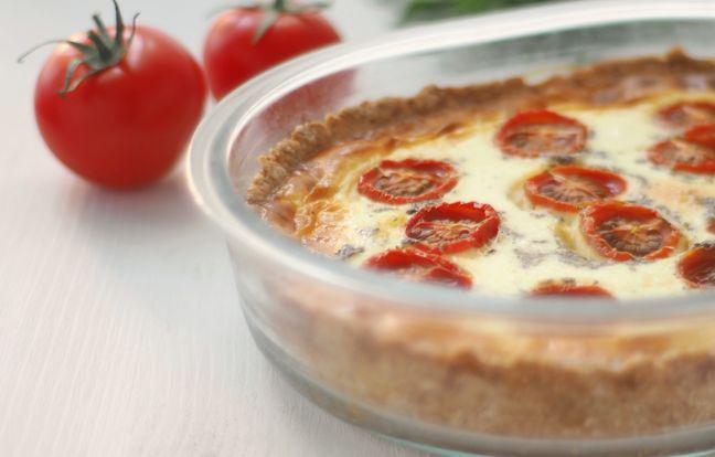 Flan de tomates y queso de cabra