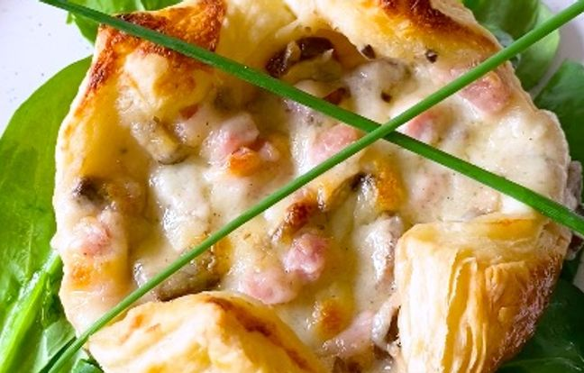 Feuilleté au fromage, jambon et champignons