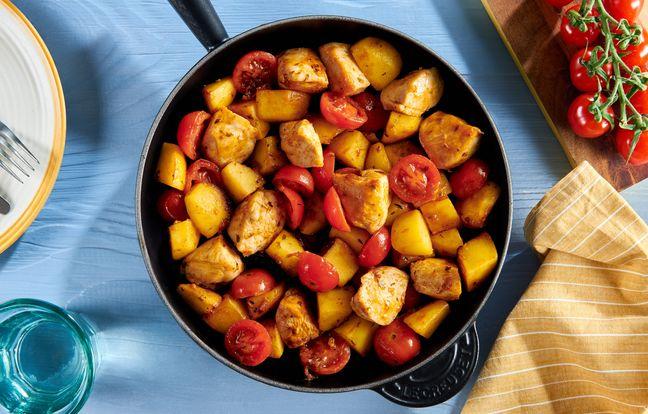 Poêlée de poulet, pommes de terre et tomates cerise à la méridionale